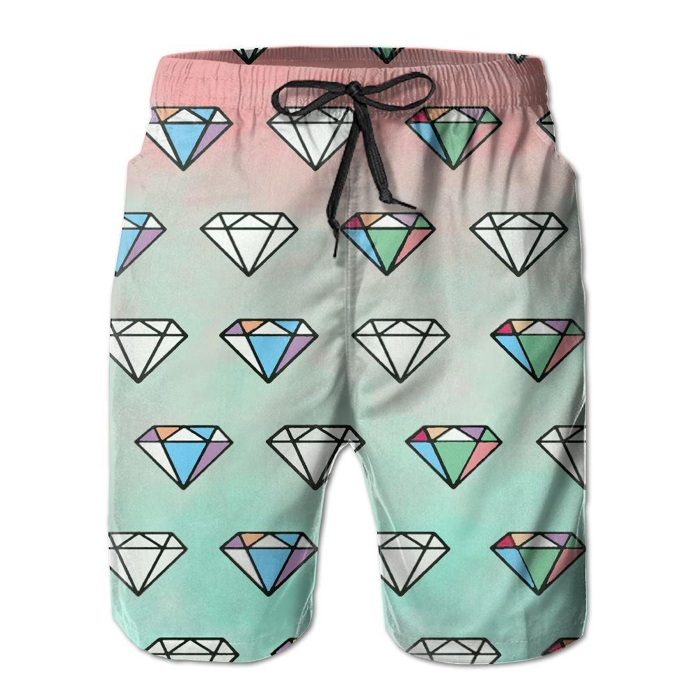 3596e59e83 Amazon.com: NUNOFOG Diamond Pattern Men's Swim Boardshorts Quick-Dry Surf  Beach Shorts Casual Sport Trunks Shorts Beach Pants With Pocket: Clothing
