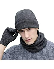 Neonr Winter Knitted Hat Warm Scarf Thick Gloves Three Sets Wool Plus Velvet Collar for Men and Women3 Pieces(Gray)