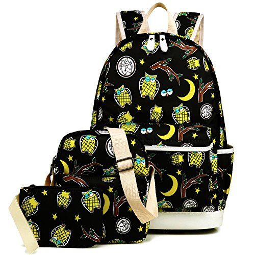 Kemy's Owl Backpack for Girls Set 3 in 1 Cute Printed Bookbag 14inch Laptop Bag for Girls Boys Water Resistant ()