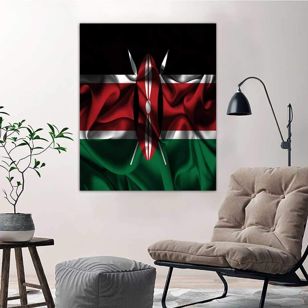 Amazon Com Yloveme Memorial Painting Flag Of Kenya 8 Home Decor For Living Room Office Bedroom Pictures Posters Prints