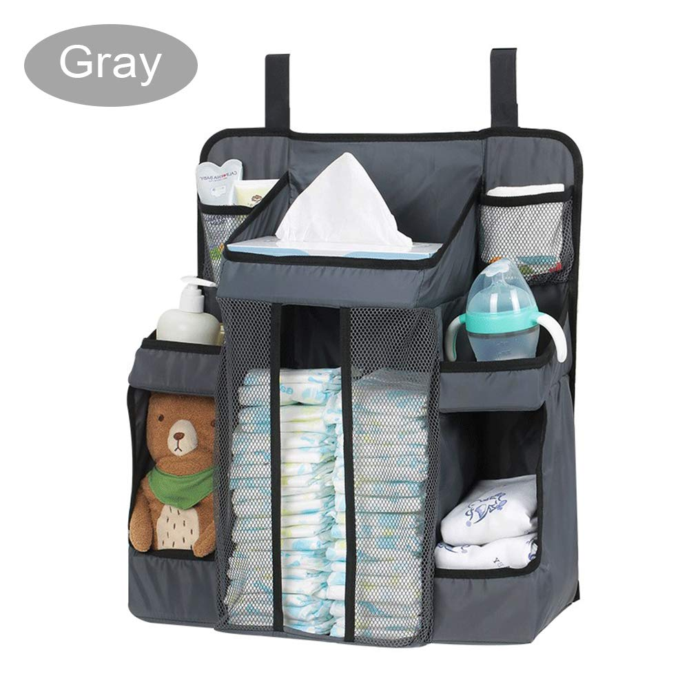 FOME BABY Baby Diaper Organizer for Crib, TC Oxford Cloth Baby Diaper Caddy Hanging Diaper Organizer Nursery Organizer and Storage for Baby Essentials Hang on Crib Playard Changing Table Car Wall