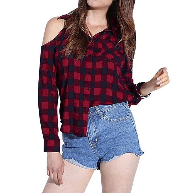 ac600a52f HKFV - Camisas - Moda - para mujer rojo rosso  Amazon.es  Ropa y accesorios