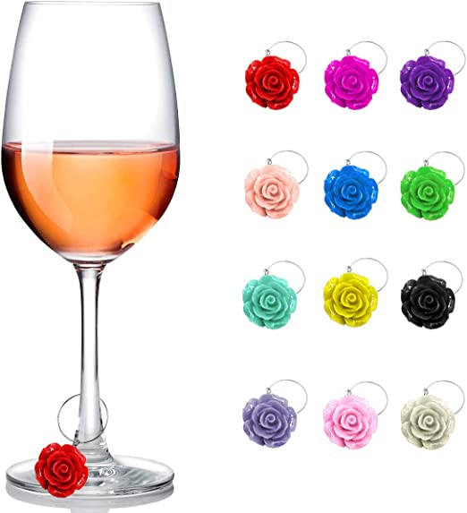 Trendy party gift for women /& men who have everything Beer /& Wine Glass Charms that use static cling reusable Unique Champagne 4th of July Party attractive drink markers that serve a purpose