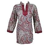 Boho Indian Ethnic Tunic Maroon Printed Women Blouse Kurti Dress M