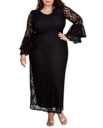 e6f30b23205 Foryingni Women s Plus Size Floral Lace Bell Long Sleeve High Waist Evening  Maxi Dress XL Black1