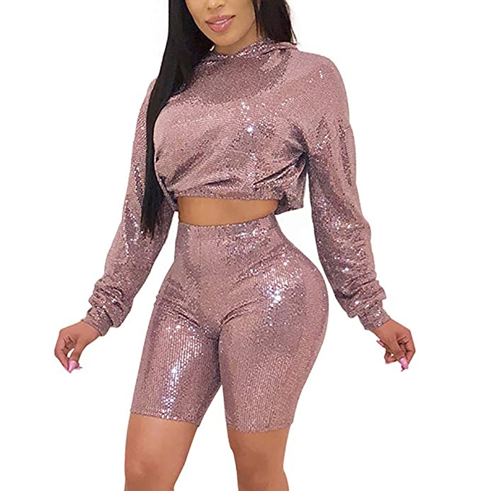 f11ceb61c7d DINGANG Women s 2 Piece Outfits Sexy Crop Top Glitter Shorts Pants Bodycon  Jumpsuit Set