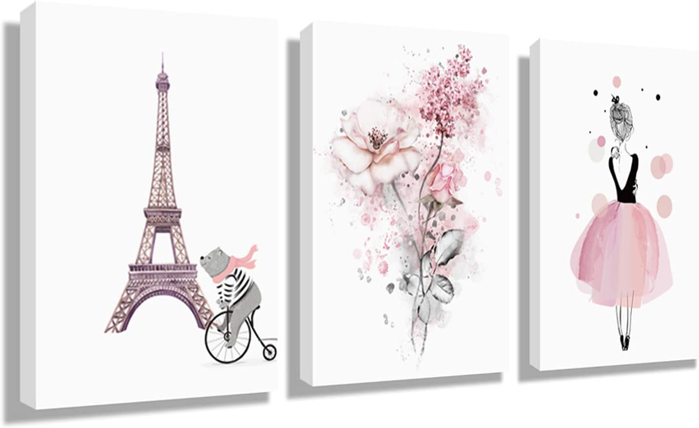Wall Art Eiffel Tower living Room Decor - Murals Hanging Paintings Decorative Art Wall Home Decoration Painting 12x16Inch x 3Panel