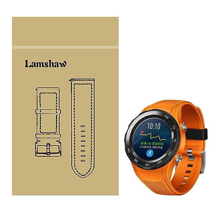 Huawei Watch 2 Correa, Lamshaw Silicona Reemplazo Banda Reloj Pulsera Correa Repuesto Bracelete para Huawei Watch 2 Reloj (Negro)  (Orange)