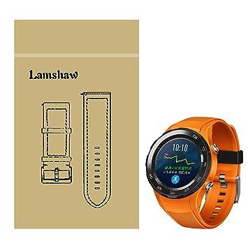 Huawei Watch 2 Correa, Lamshaw Silicona Reemplazo Banda Reloj Pulsera Correa Repuesto Bracelete para Huawei Watch 2 Reloj (Negro)  (Orange): Amazon.es: ...