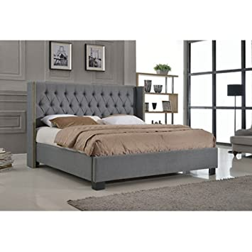 upholstered pu platform bed with european slat kit full 805 in l x - European Bed Frame