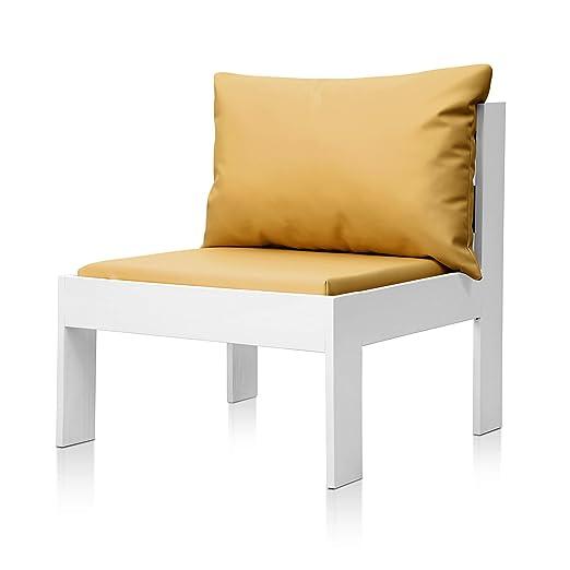 SUENOSZZZ - Sofa Jardin de Madera de Pino Color Blanco, MEDITERRANEO Mod. Respaldo, Sillon cojín Polipiel Color Mostaza. Muebles Jardin Exterior. ...