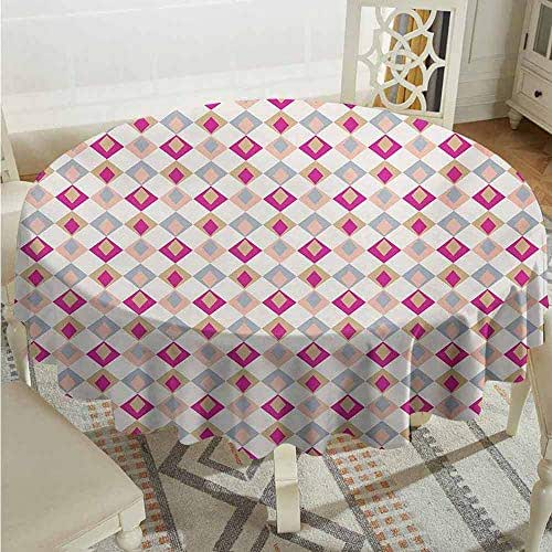 XXANS Fashions Table Cloth,Retro,Checkered Pattern Squares in Different Soft Colors with Linked Diamond Shapes,High-end Durable Creative Home,63 INCH,Pink Peach Khaki