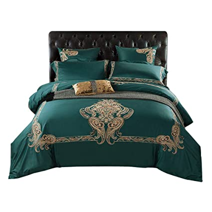 769182227434 Image Unavailable. Image not available for. Color: Svetanya Green Paisley Style  Duvet Cover Set 800TC Soft Embroidery Egyptian Cotton Bed ...