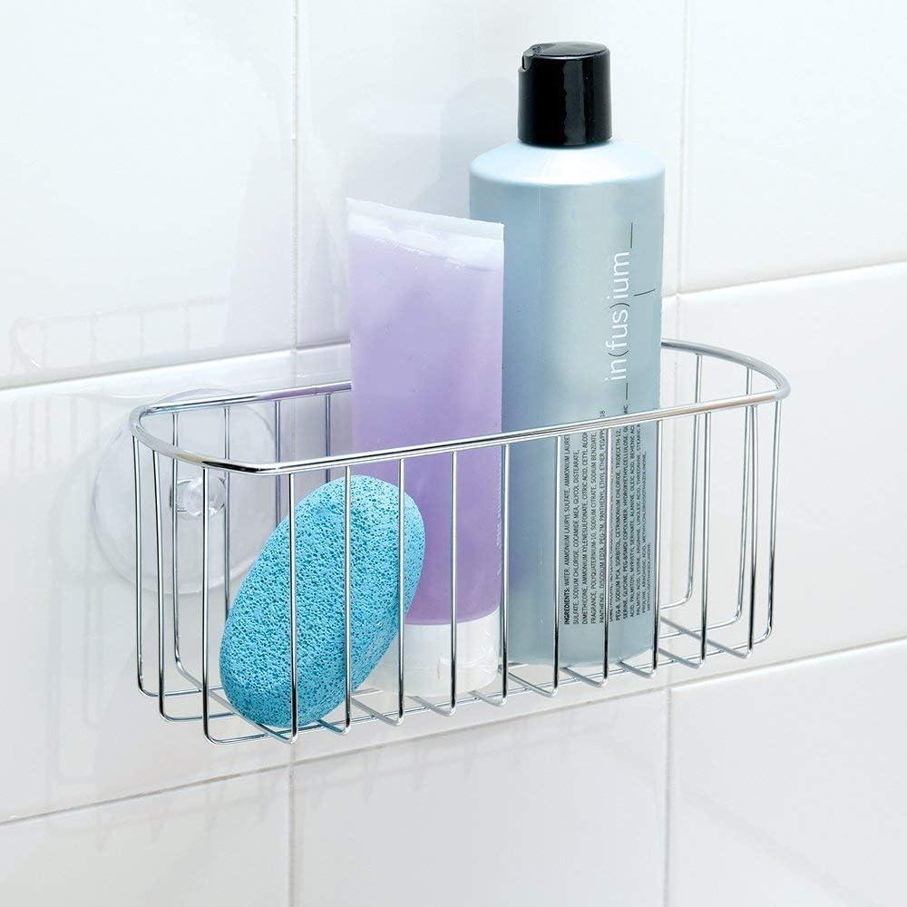 iDesign Organizador de ducha, cesta metálica pequeña para el ...