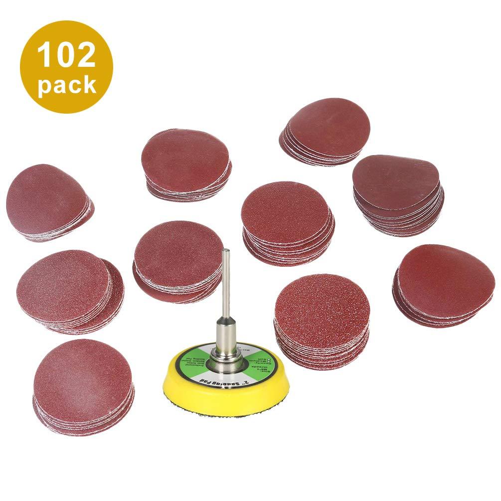 Schleifpapiersortiment mit K/örnung 2-Zoll-Schleifscheiben 100 St/ück Rote Runde Schleifbl/ätter Beflockung von Schleifpapier zum Polieren