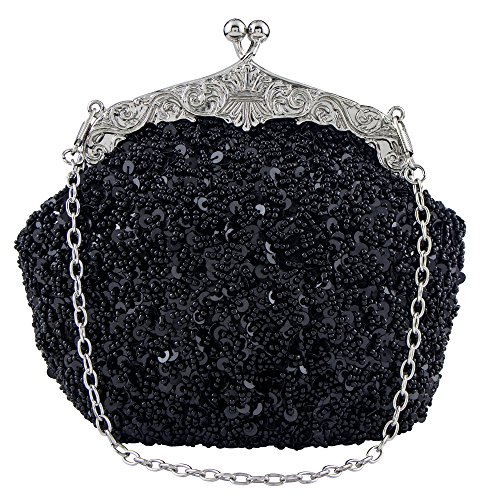 Beaded Purse (Bagood Women's Vintage Evening Bags Clutches Purses Handbag Shoulder Bag Seed Beaded Sequin Flower for Wedding Bridal Prom Party Black)