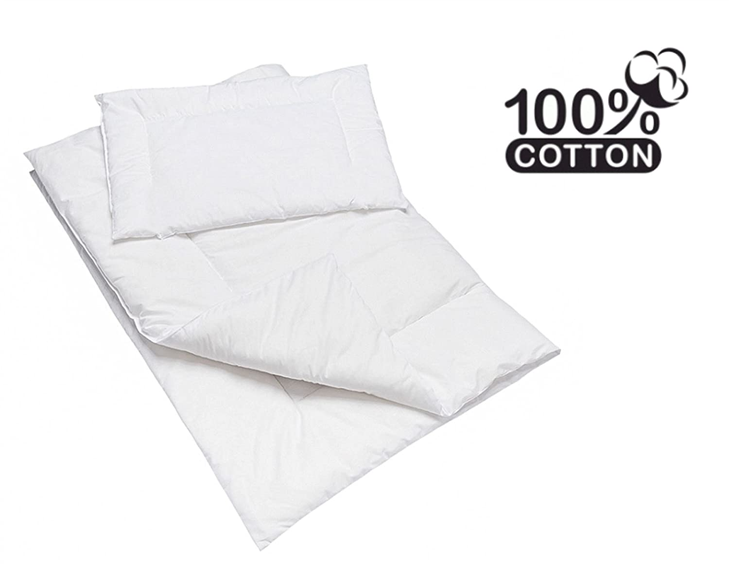 Anti Allergy DUVET & PILLOW Set / Baby Cot Duvet Size 120x90cm - Plain White BabyComfort