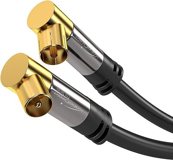 TALLA 5m. KabelDirekt 5m Cable Coaxial Antena en Ángulo 90°, (Clase A, Soporta DVB-T, DVB-S, DVB-C, DVB-S2 y HDTV, para TV y radio), PRO Series