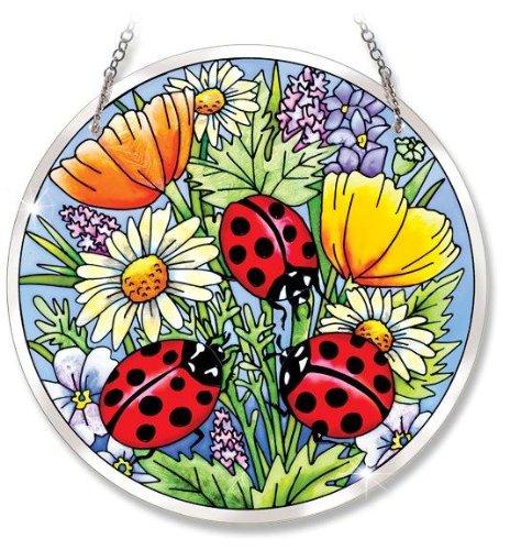 Amia 5262 Beveled Glass Circle Suncatcher Ladybug Design, 6-1/2-Inch, Large