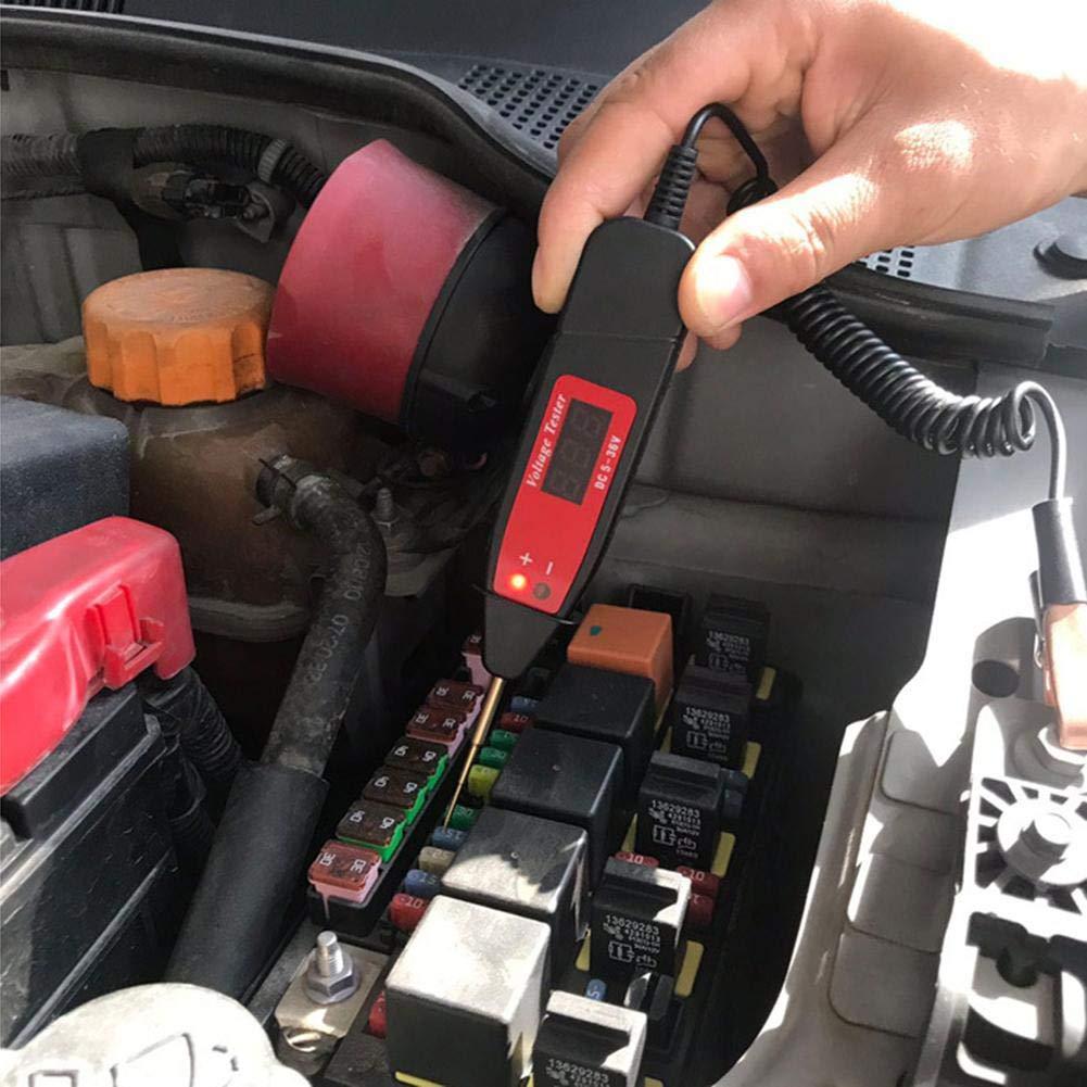 SH-Flying Tester di Circuito LCD Digitale 5-36V per Impieghi Gravosi con Cavo A Molla Estesa da 65 Pollici Bassa Tensione per Camion E Tester Leggero con Sonda in Acciaio Inossidabile
