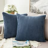 throw pillows for couch  Pack of 2, Corduroy Soft Soild Decorative Square Throw Pillow Covers Set Cushion Cases Pillowcases for Sofa Bedroom Car 18 x 18 Inch 45 x 45 cm