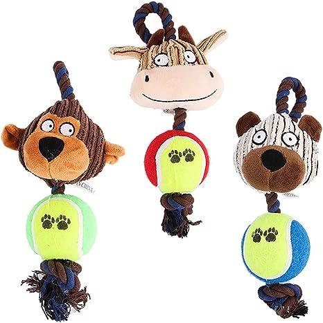Esoes Perro chirriante masticable Juguetes Durable 3 Pack Interactivo Juguetes de Peluche para Cachorro pequeño Mediano Grande Perros Jugando Haciendo diversión – Mono, Oso y Toro: Amazon.es: Productos para mascotas
