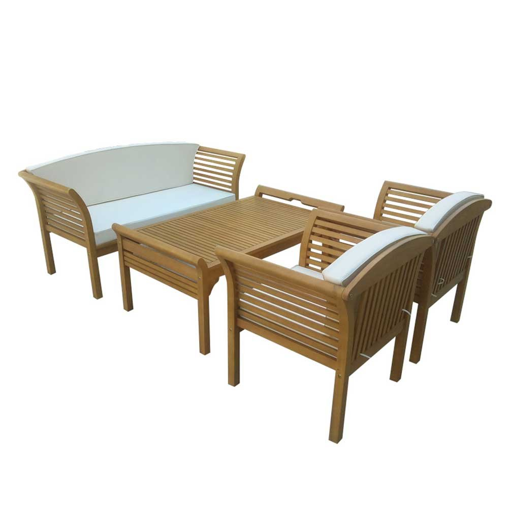 loungem bel sitzgruppe loungeset aus eukalyptus massivholz ge lt 4 teilig pharao24 kaufen. Black Bedroom Furniture Sets. Home Design Ideas
