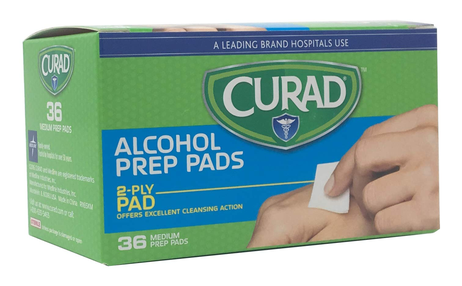 Curad Alcohol Prep Pads, 2-Ply Alcohol Swabs, Medium Size (Case of 1,080) by Curad