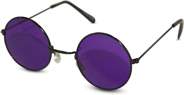 John Lennon Sunglasses Round Hippie Shades Retro Colored Lenses Retro Party (Black frame w/Purple Lens): Shoes