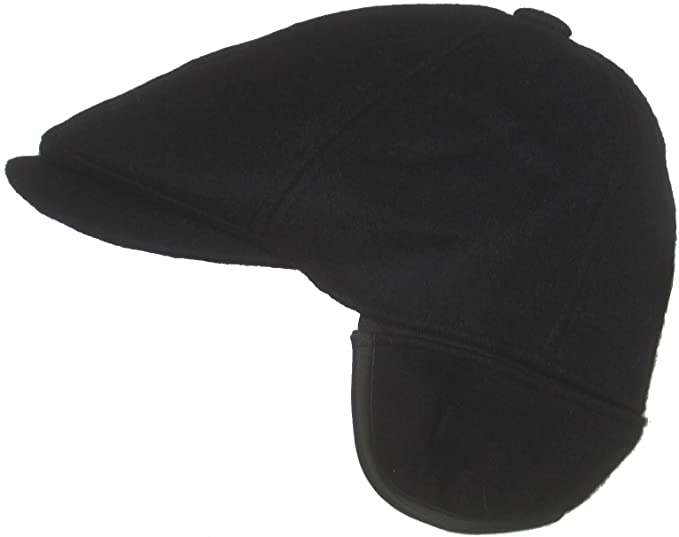 81d1fd3cc18 Amazon.com  Dorfman Pacific Wool Ivy Scally Cap with Ear Flap (Black ...