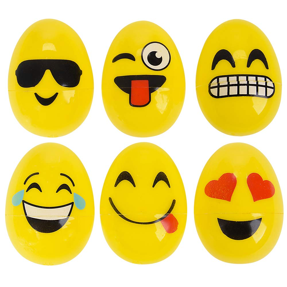 Rinco Emoji Face 2.5 Plastic Easter Eggs 12 Pack Assorted Colors Rhode Island Novelty Inc