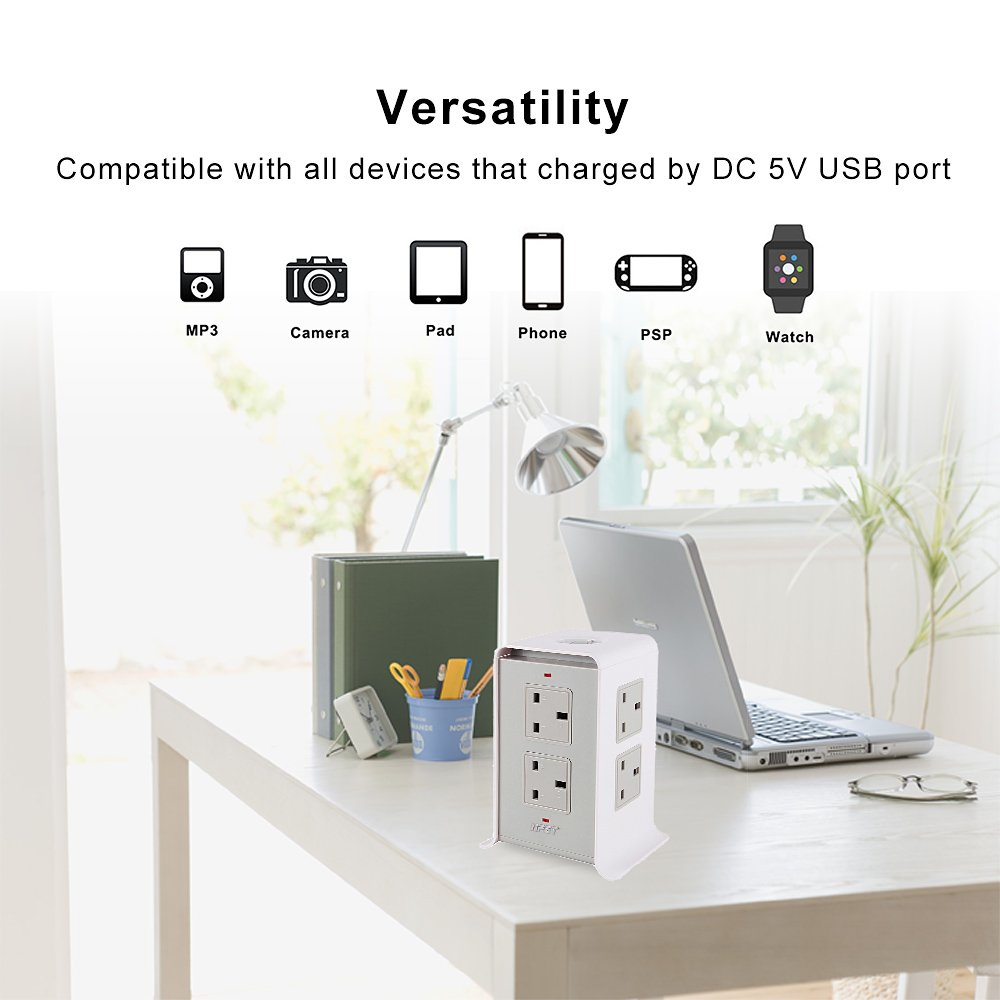 NPET Extension Leads 3M//9.8ft Tower Power Strips Surge Protector Overload Protection with 8 Way Outlets 4 USB Ports for Home Office