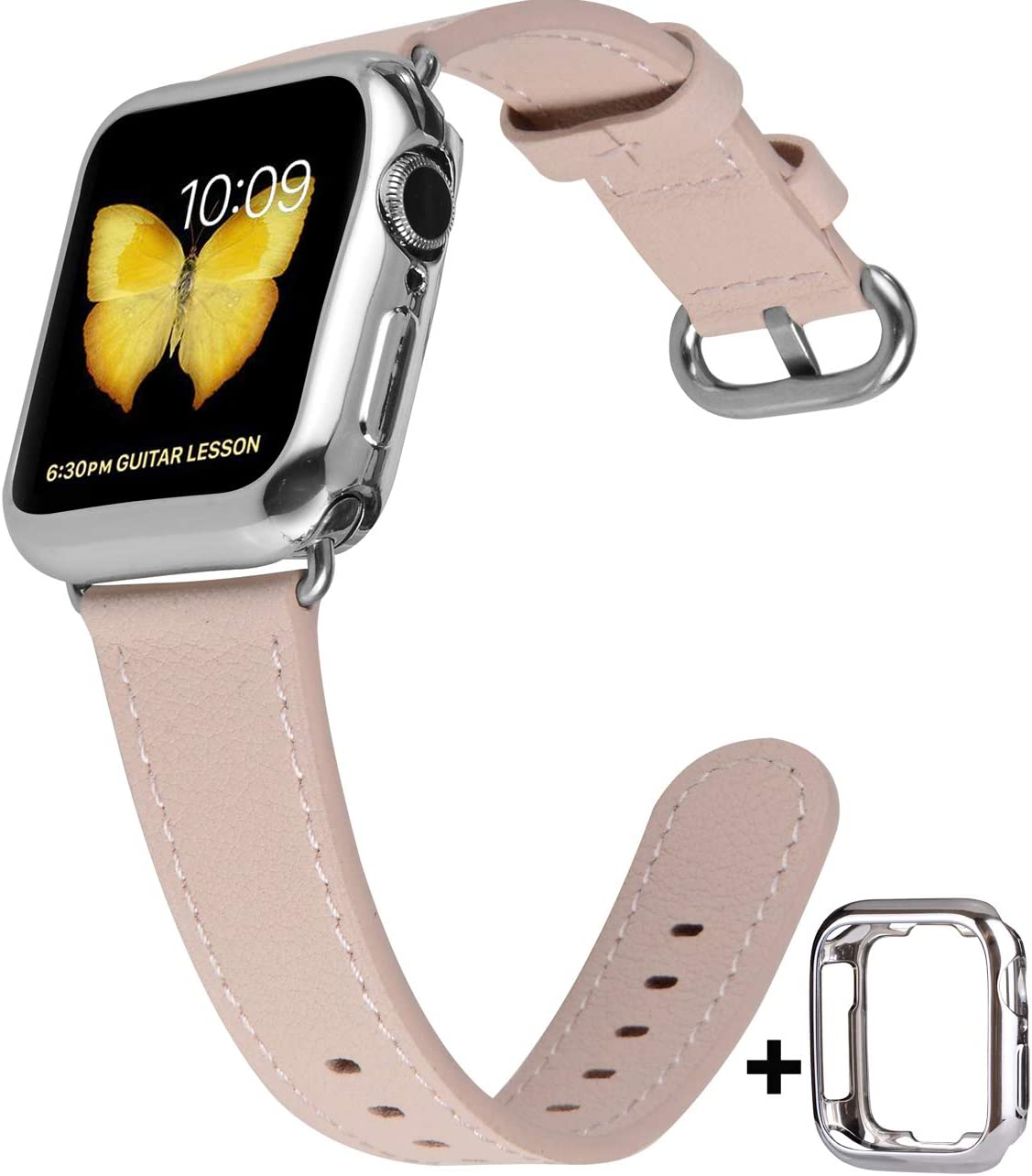 JSGJMY Compatible with Apple Watch Band 38mm 40mm 42mm 44mm Women Men Genuine Leather Replacement Strap for iWatch Series SE 6 5 4 3 2 1 (Soft Pink with Silver Stainless Steel Clasp, 38mm/40mm S/M)