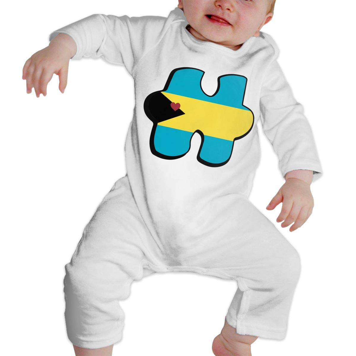 Mri-le1 Baby Boy Coverall Autism Awareness Bahamas Flag Puzzle Infant Long Sleeve Romper Jumpsuit