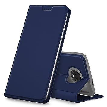 Funda Moto G6 Plus, iBetter Flip Cover Carcasa PU Silicio Protectora de Carcasa con Soporte Plegable para Moto G6 Plus ,Azul