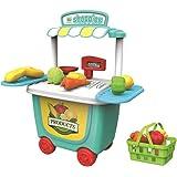 Vosarea Carrito de Juegos para Cocinar para Niños Juguetes de Aprendizaje (Supermercado)