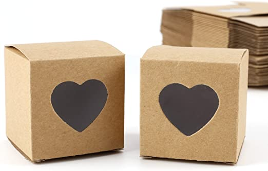 Set de 50 Cajas para dulces bombones Caja kraft de boda regalo Rútico 5x5x5cm Cajita de cuadro con Corazón Transparente: Amazon.es: Hogar