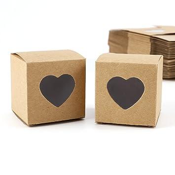 CLE DE TOUS - Set de 50 Cajas para dulces bombones Caja kraft de boda regalo Rústico 5x5x5cm Cajita de cuadro con Corazón Transparente: Amazon.es: Hogar