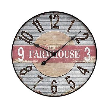 YVSoo 50cm Reloj de Pared Silencioso,Reloj de Pared Vintage Reloj de Cuarzo Madera para Cocina, Salon, Cuarto Decoración (C): Amazon.es: Hogar