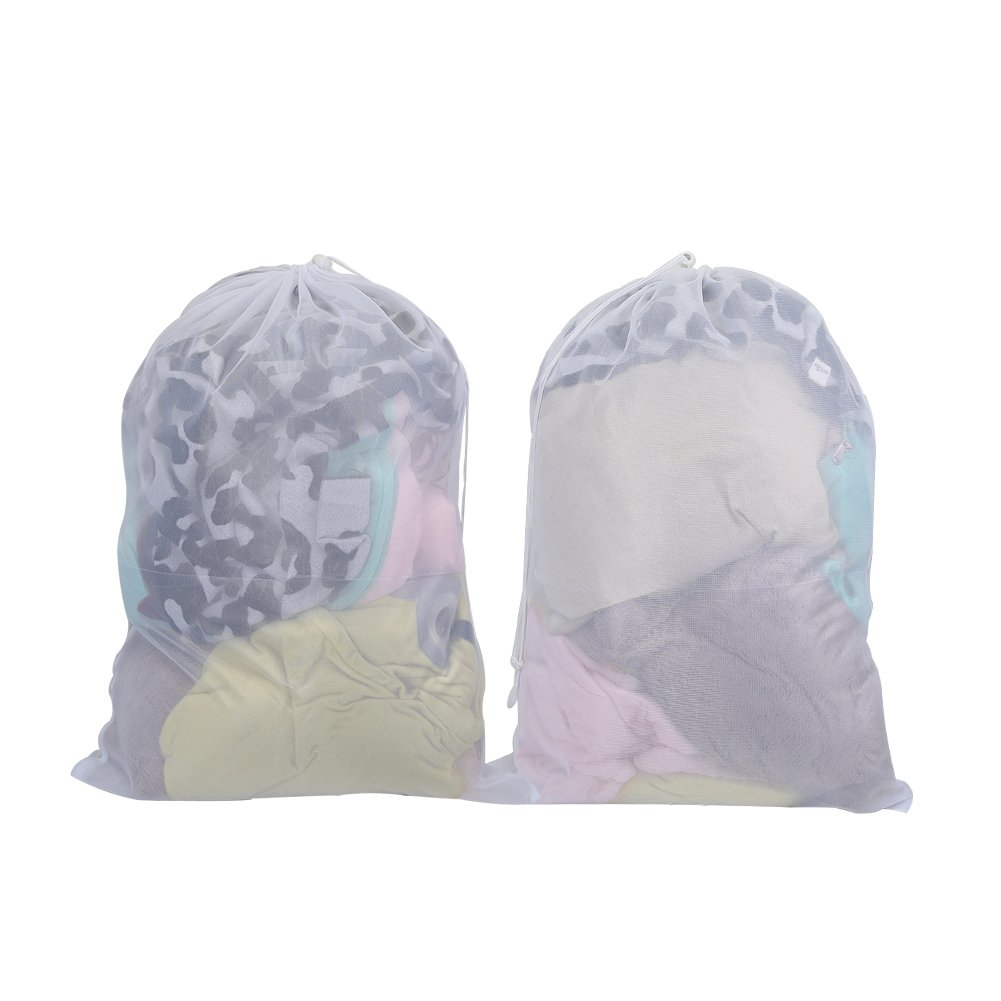 Vivifying Large Washing Net Bags, Set of 2 Durable Mesh Laundry Bags with Lockable Drawstring for Big Clothes, Duvet Cover (White)