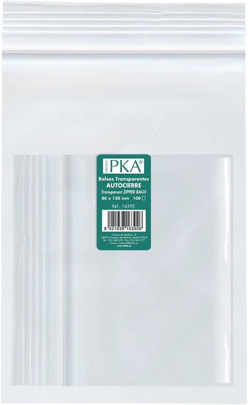 PKA 16396 - Pack de 100 bolsas de plástico con autocierre, 180x250 mm