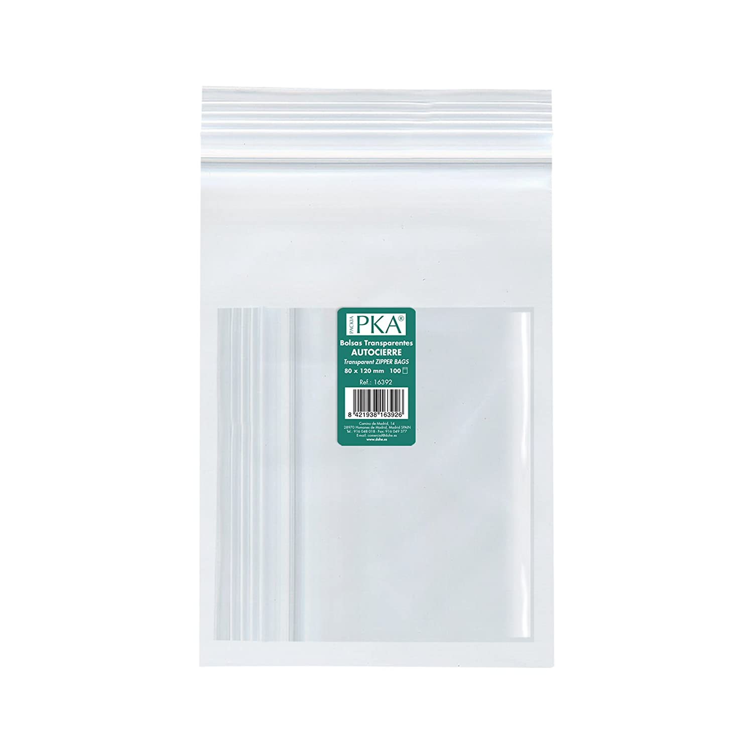 PKA 16396  –   Pack of 100  Re-sealable Plastic Bags 180  x 250  mm Dohe