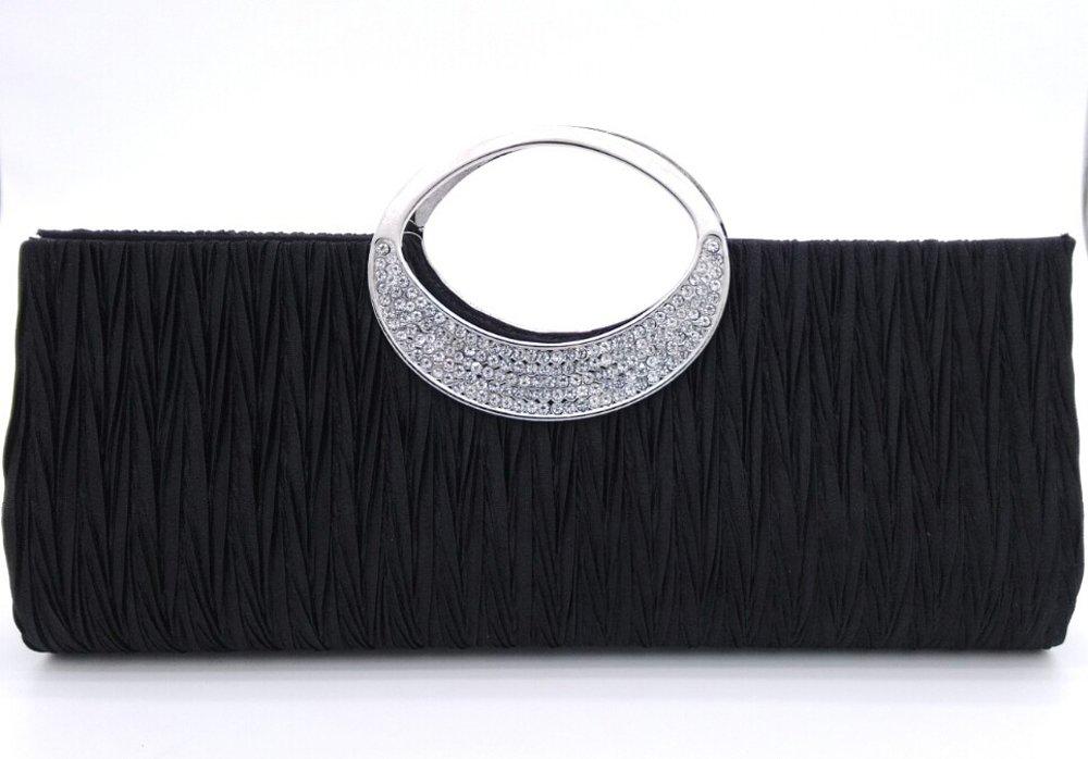 Womens Luxury Rhinestone Satin Pleated Evening Wedding Party Clutch Purse Wallet Handbag Black