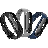 Anjoo [3-Unidades Correa para Xiao Mi Band 3 Smart Bracelet, Correa Banda de Deportes Silicona Reemplazo para Xiaomi Mi Band 3 (Negro/Gris/Azul Marino)