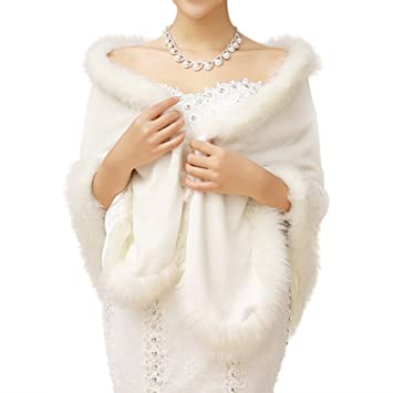 435366050b59a2 JUNGEN 1 PCS Mariée Boléro Femme Veste Légère de Mariée Mariage Boléro  Imitation de Fourrure