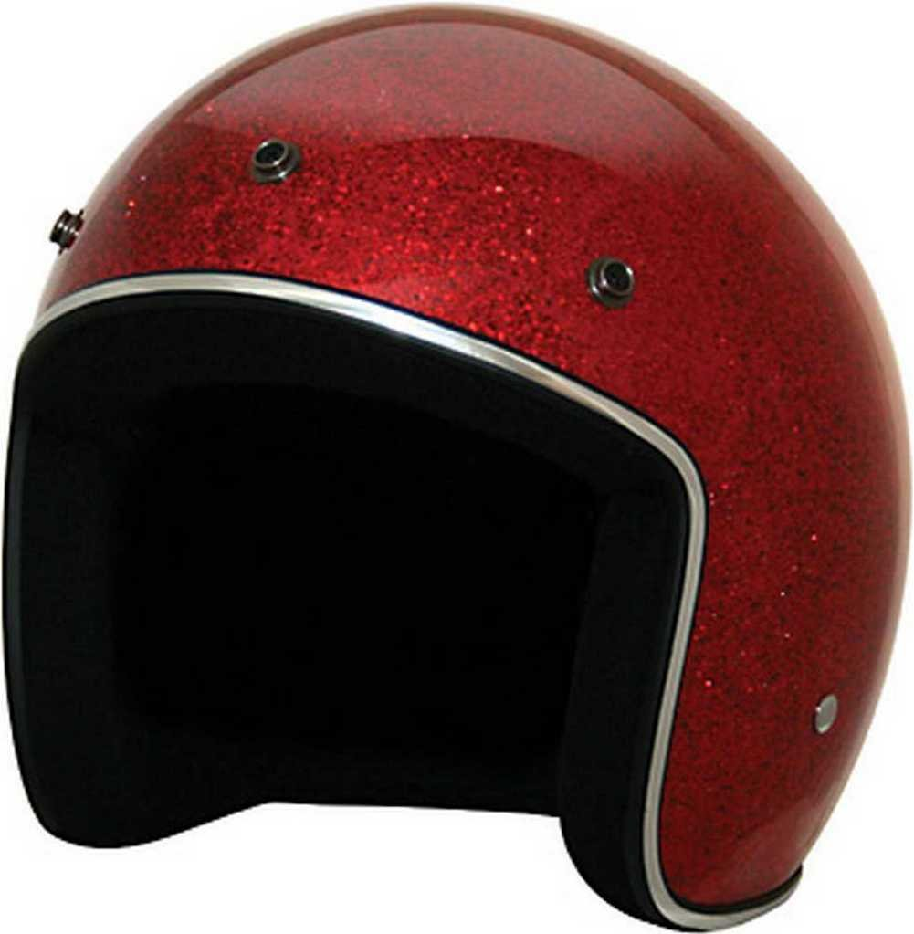 HCI Retro Red Glitter Open Face Helmet w/Visor, ABS painted Shell 10-031 (Md) by HCI