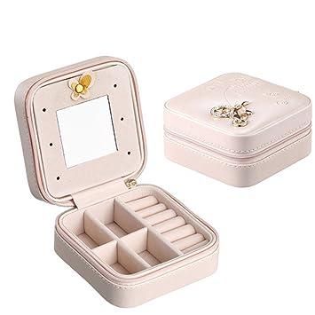 Boîte à bijoux en cuir synthétique de polyuréthane - Petit étui de voyage  avec miroir pour b0234d47ccb