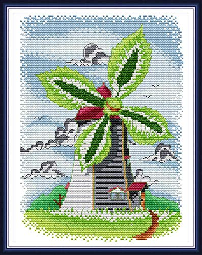 Cross Stitch Stamped Kits Pre-Printed Cross-Stitching Starter Patterns for Beginner Kids or Adults, Summer Windmill Needlepoint Set Embroidery Kits for Home -