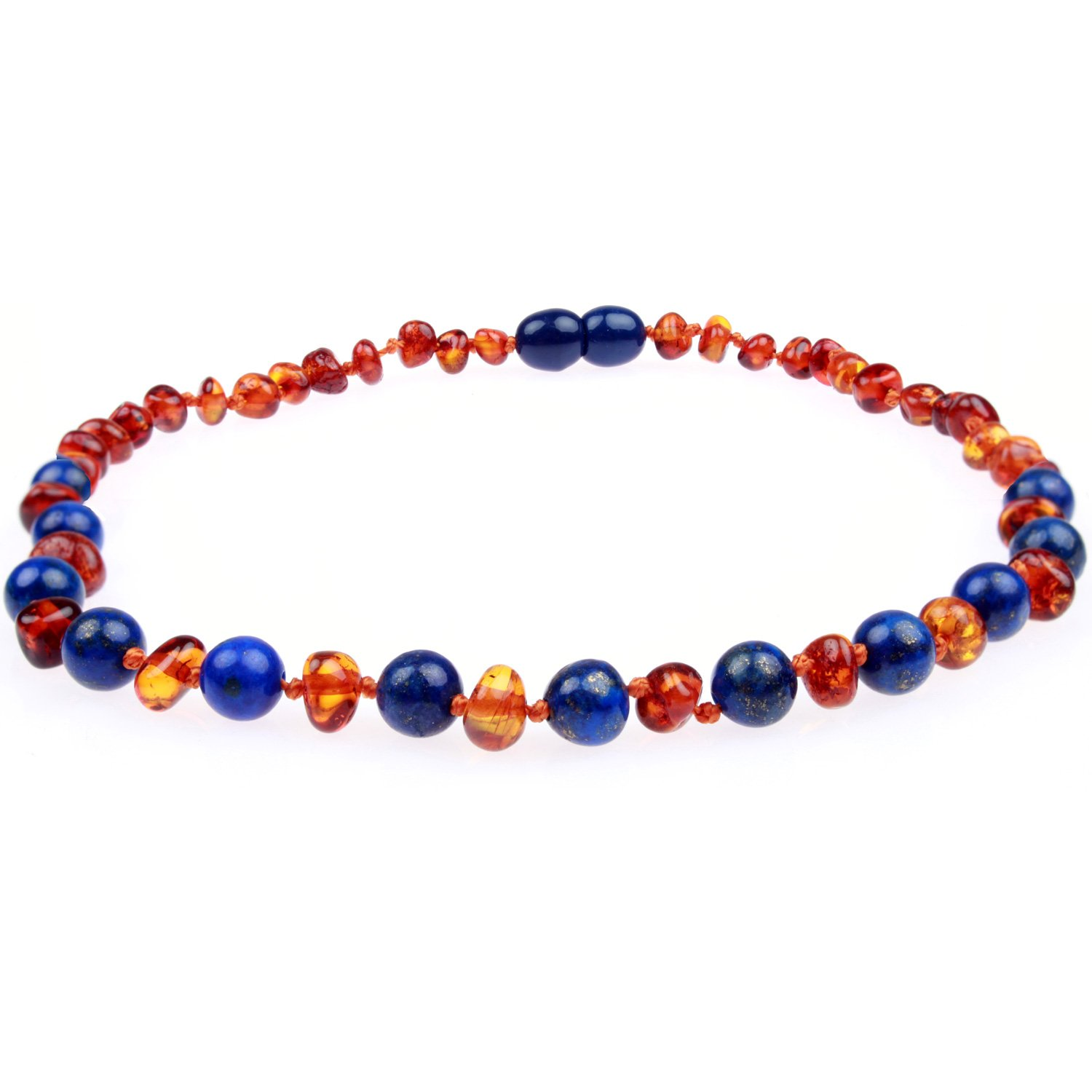 Baltic Amber Teething Necklace Gift Set Free Silicone Teething Pendant $15 Value All Natural Teething Pain Relief Handcrafted 100/% USA Lab-Tested Authentic Amber Lapis//Cognac - 12.5 Inches