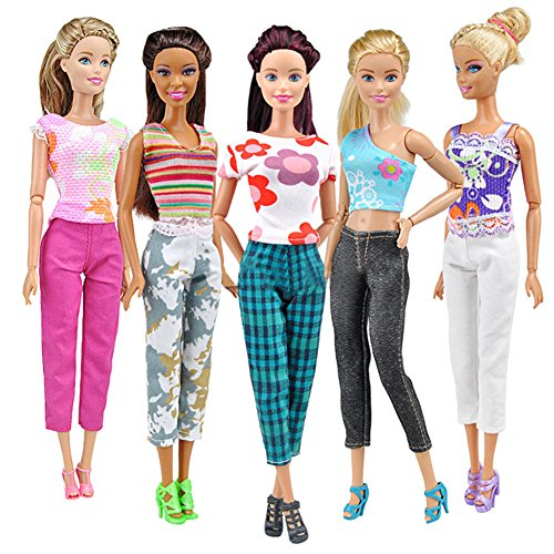 Barbie Doll Clothing Patterns - Powerfulline 5 Tops + 5 Pants Fashion Girl Gift Casual Summer Clothes Outfit for Barbie Doll